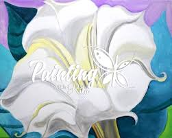 White Trumpet Flower - paint georgia o u0027keeffe u0027s