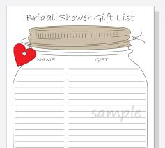 free wedding gifts bridal shower gift list printable diy jar design with