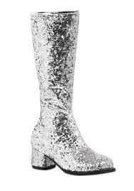 s gogo boots size 11 silver glitter go go boots