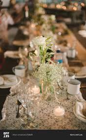 Baby S Breath Centerpiece Set Wedding Table With Roses And Baby U0027s Breath Centerpieces Stock
