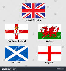 united kingdom collection flags national emblems stock vector