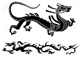 tribal chinese dragon tattoos two ancient dragons royalty free cliparts vectors and stock