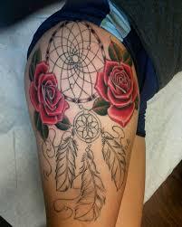 30 stunningly dreamcatcher tattoo on thigh