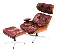Eames Leather Lounge Chair Plycraft Burgundy Leather Eames Style Lounge Chair And Ottoman