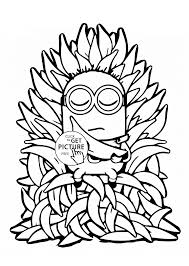 minion and many bananas coloring page for kids fruits coloring
