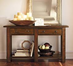 Entry Console Table Benchwright Console Table Rustic Mahogany Pottery Barn