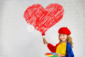 big valentines day child painting big heart on the wall valentines day card home