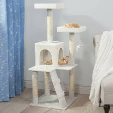 penthouse sleep and play cat tree by petmaker 4 ft tall white