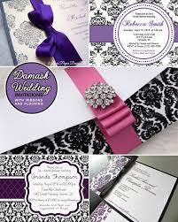 Damask Wedding Invitations Purple And Black Damask Wedding Invitations And An Elegant