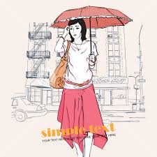 pretty with umbrella in sketch style on a street background