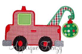 christmas applique christmas tow truck applique design