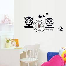 cute owls with clock diy wall wallpaper stickers art decor sales cute owls with clock diy wall wallpaper stickers art decor mural room decal