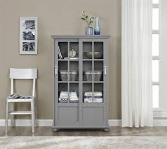 Bookcase With Doors White by Amazon Com Altra Aaron Lane Bookcase With Sliding Glass Doors