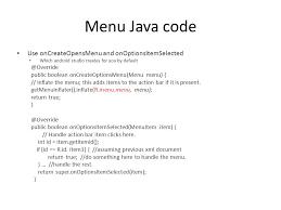 android oncreateoptionsmenu cosc 5 4730 android navigation menus actionbar toolbar and