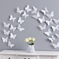 Bilder Schlafzimmer Amazon Schmetterlinge Ii Set 12 Tlg Zum Kleben Wanddeko Wandtatto Weiß