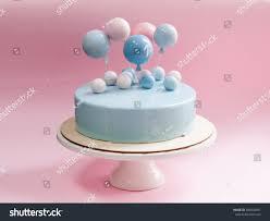 birthday cake light blue mirror glaze stock photo 580404691