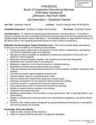 Resume For A Teacher Job by Substitute Teacher Job Duties Resume Contegri Com