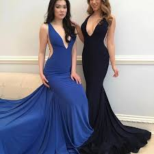 mermaid v neck sweep train royal blue black elastic satin prom