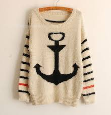 stripe bavy anchor knit sweaters pullover jumper cardigan