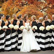 black and white wedding bridesmaid dresses colorful stripped bridesmaids and styling looks