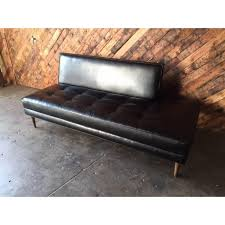 Day Bed Sofa Bed by Mid Century Style Custom Black Vinyl Day Bed Sofa Chairish