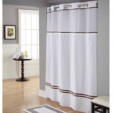 Polyester Shower Curtains Hookless White Brown Polyester Shower Curtain Walmart