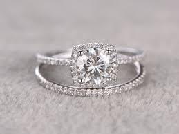 moissanite wedding sets 6 5mm moissanite wedding set bridal ring 14k white