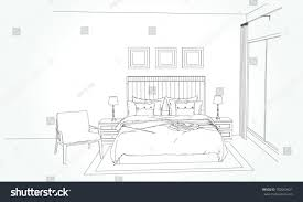 sketch room linear sketch interior room plan sketch stock vector 703069621