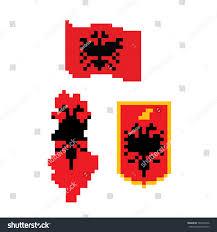 Video Game Flags Flag Coat Arms Map Albaniapixel Art Stock Vector 789540796