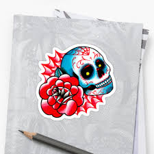 old sugar skull and rose tattoo flash