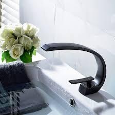 fapully modern black bathroom faucet single handle vessel sink