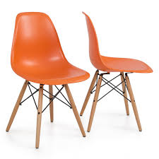 Orange Chair by Style Dsw Wood Base Mid Century Modern Shell Dining Side Chair