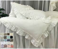 linen duvet cover with vintage ruffles style 40 colors patterns