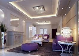 living room night scene with purple sofa 3d house