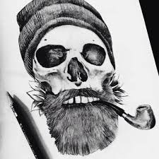 smoking skull tattoo with black hat tattoo design