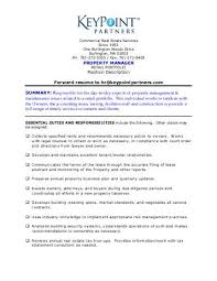 Property Manager Duties For Resume Position Description Key Result Areas
