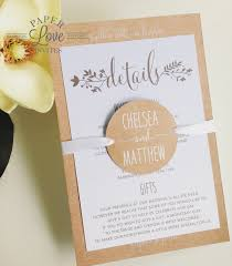wedding invitations queensland paper invites rustic brown invite with white and baby blue