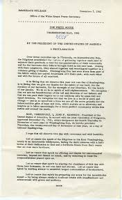 president kennedy s 1962 thanksgiving day proclamation from the