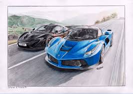 car ferrari drawing just finished my laferrari u0026 p1 drawing let me know what you think