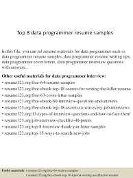 Programming Resume Examples by Top 8 Data Programmer Resume Samples 1 638 Jpg Cb U003d1438223557