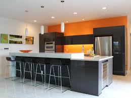 Modern Kitchen Wall Colors Orange Wall Color Ideas With Black Island And Metalic Stools For