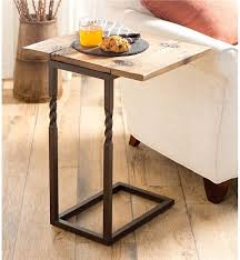 Metal And Wood Sofa Table by Deep Creek Pull Up Table In Rustic Wood And Metal Accent Tables