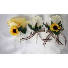 sunflower corsage yellow ivory sunflower bouquets corsages boutonnieres