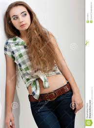 fashion model woman wearing country style clothes stock