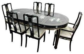Lacquer Dining Room Set Black Mother Of Pearl Asian Dining - Black lacquer dining room set