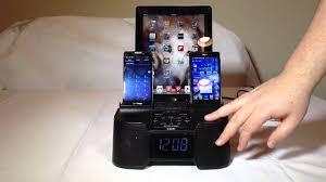 dok cr30 4 port smart phone charger with alarm clock fm radio