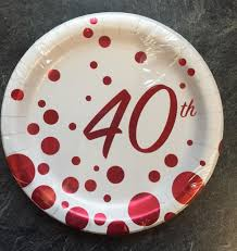 40th anniversary plates 8 x ruby wedding party paper plates 40th anniversary dessert plate