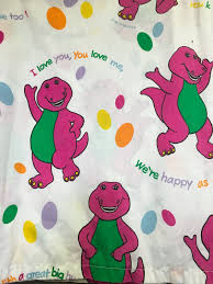 vintage 1992 barney the dinosaur twin size flat bed sheet fabric
