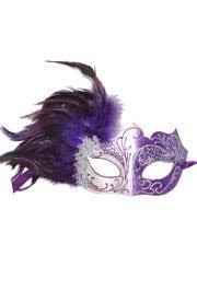 mask with feathers purple and silver masquerade mask with purple feathers on the side