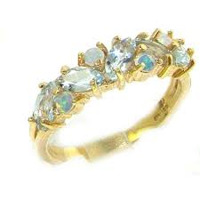 eternity ring finger solid 9ct gold fiery opal aquamarine eternity